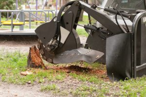 grinding a yard stump in Lowell, NC